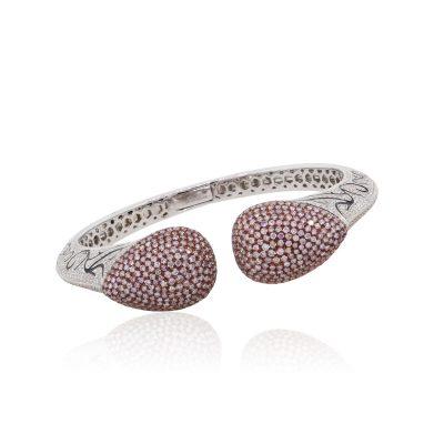 18k White Gold 7.28ctw Pink and White Pave Diamond Bangle