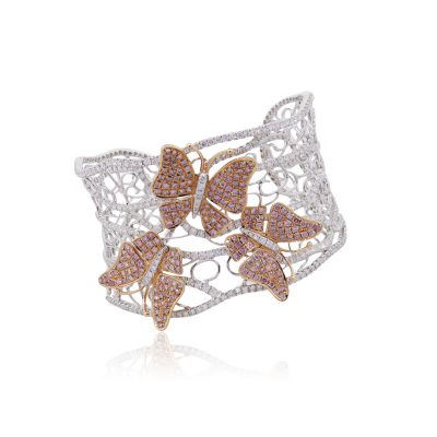 18k Two Tone Gold 12.03ctw Pink and White Diamond Pave Open Work Butterfly Bangle