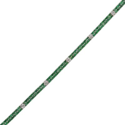 14k White Gold 4.32ctw Emerald and 0.96ctw of Diamond Straight Bracelet