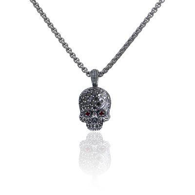 David Yurman SS & Titanium 1.45ct Round Diamond Skull Pendant