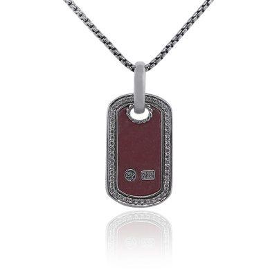 David Yurman Rhodolite Diamond Tag Necklace