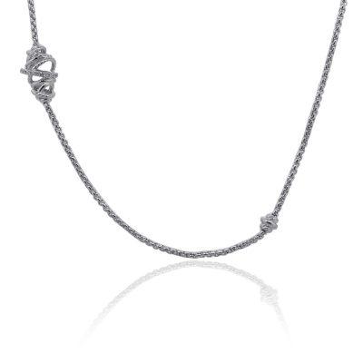 David Yurman Sterling Silver Crossover Diamond Station Necklace