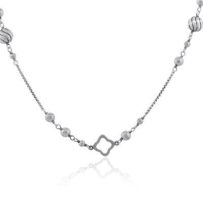 David Yurman Sterling Silver Hammered Bead & Quatrefoil Necklace