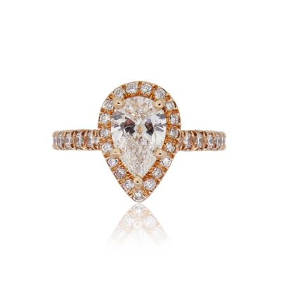 14k Rose Gold GIA Certified 1.31ct Pear Shape Diamond Halo Engagement Ring