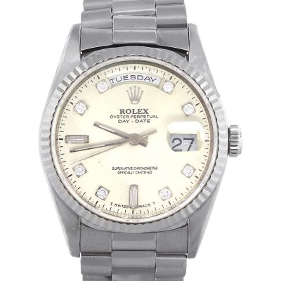 Rolex 18239 Day-Date 18k White Gold Diamond Dial Watch