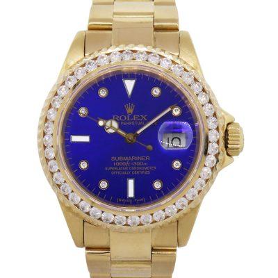 Rolex 16618 Submariner 18k Yellow Gold Diamond Bezel Blue Dial Watch