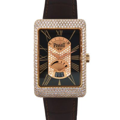 Piaget G0A29116 Black Tie 18k Rose Gold Diamond on Leather Strap Watch