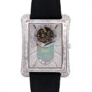 Piaget G0A33078 Emperador 18k White Gold Diamond on Leather Strap Watch