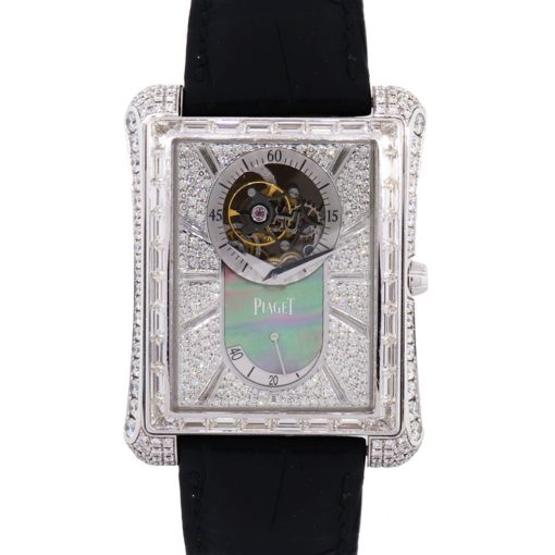 Piaget G0A33078 Emperador 18k White Gold Diamond on Leather Strap Watch