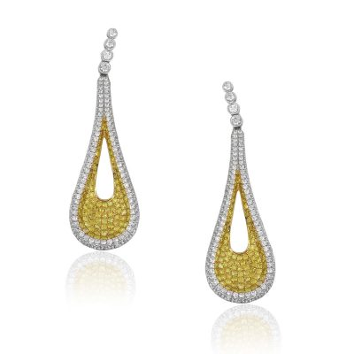 18k White Gold 4.47ctw Round Diamond Pave Drop Earrings