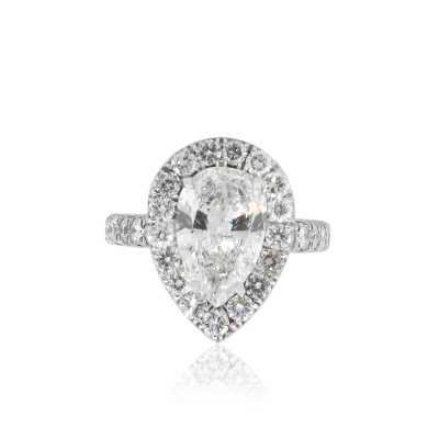 18k White Gold 3.34ct Pear Shape Diamond Halo Engagement Ring