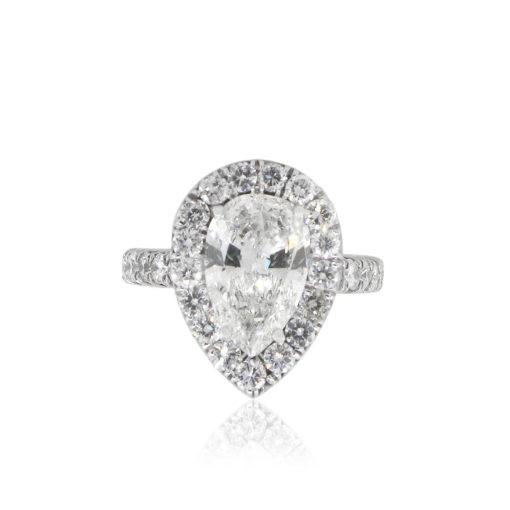 18k White Gold 3.34ct Pear Shape Diamond Halo Engagement Ring