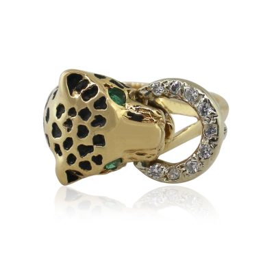 14k Yellow Gold Panther/Cougar Ladies Ring