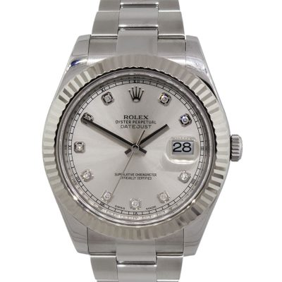 Rolex 116334 Datejust II Silver Diamond Dial Stainless Steel Watch