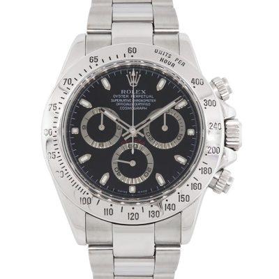 Rolex 116520 Daytona Black Chronograph Dial Stainless Steel Watch