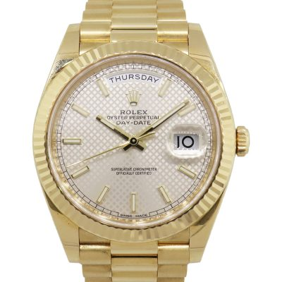 Rolex 228238 Day Date 40mm 18k Yellow Gold Silver Diagonal Index Dial Watch
