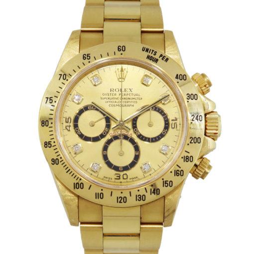 Rolex 16528 Daytona 18k Yellow Gold Champagne Serti Dial Watch