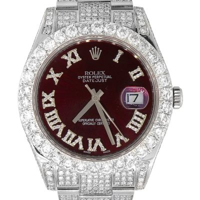 Rolex 116300 Datejust II Stainless Steel Red Diamond Dial Watch