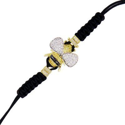 Yellow Gold Multi Color Diamond Bee Black Silk Cord Bracelet