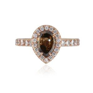 14k Rose Gold 1ct Pear Shaped Diamond Halo Engagement Ring