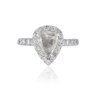 14k White Gold 0.87ct Pear Shaped Diamond Halo Engagement Ring