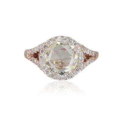 14k Rose Gold 1.54ct Round Cut Diamond Halo Engagement Ring