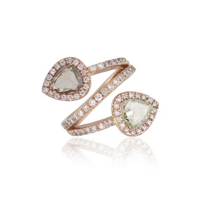 14k Rose Gold 1.80ct Pear Shaped Diamond Bypass Ring