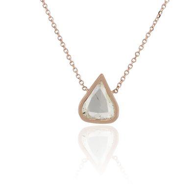 14k Rose Gold 1.45ctw Triangle Shape Bezel Set Diamond Necklace