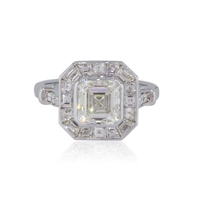Platinum GIA Certified 1.91ct Asscher Cut Diamond Engagement Ring