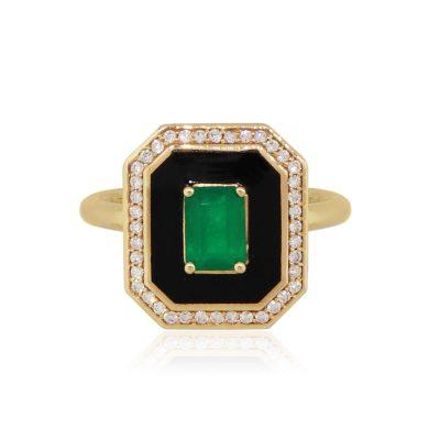 18k Rose Gold 0.75ct Emerald 0.23ctw Diamond and Enamel Ladies Ring