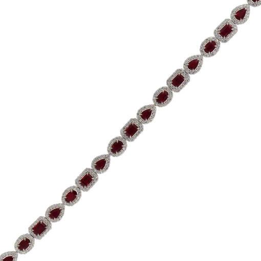 18k White Gold 9.82ctw Ruby and 2.95ctw Diamond Bracelet