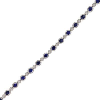 18k White Gold 6.47ctw Oval Sapphire and 1.83ctw Diamond Bracelet