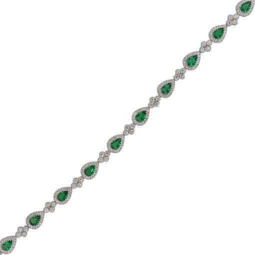 18k White Gold 3.29ctw Pear Shape Emerald and 2.18ctw Diamond Bracelet