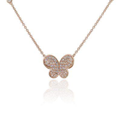 18k Rose Gold 0.86ctw Round Diamond Butterfly Pendant On Chain