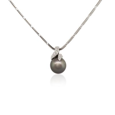 14k White Gold 0.20ctw Diamond and 10mm Black Pearl Pendant Necklace