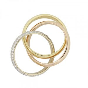 tri color gold cartier ring