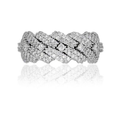 14k White Gold 4.64ctw Round Diamond Cuban Link Ring