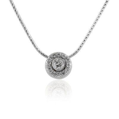 14k White Gold 0.30ctw Round Diamond Halo Pendant Necklace