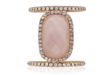 Meira T 14k Rose Gold 0.57ctw Diamond and Rose Quartz Double Band Ring