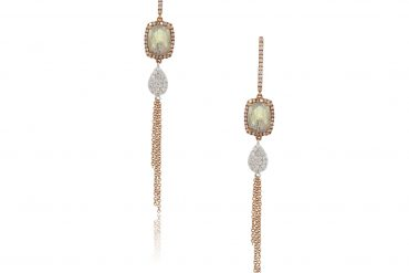 Meira T. 14k Rose Gold 2.42ctw Labradorite and 0.56ctw Diamond Drop Earrings