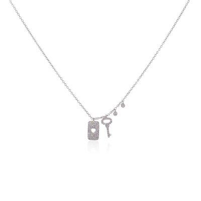 Meira T 14k White Gold 0.19ctw Diamond Key & Lock Pendant Necklace