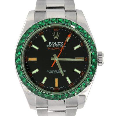 Rolex 116400 Milgauss Black Dial & Emerald Bezel Watch