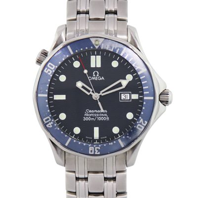 Omega Seamaster Stainless Steel Blue Dial Gents Wrist Watch