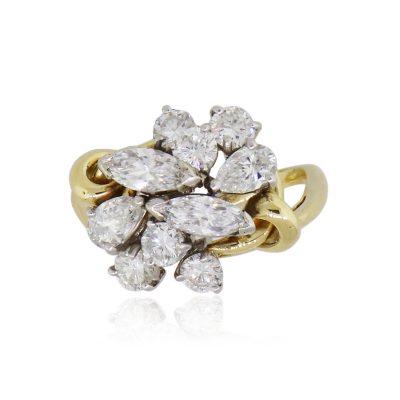 14k Yellow Gold 3ctw Diamond Free-form Ring