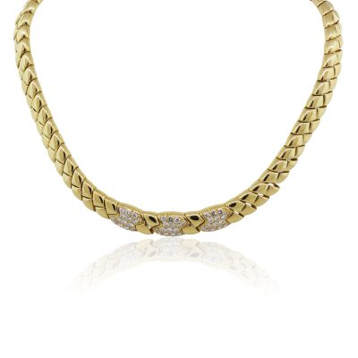 Van Cleef and Arpels 18k Yellow Gold 2ctw Diamond Choker Necklace