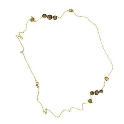 Ippolita 18k Yellow Smoky Quartz Station Long Necklace