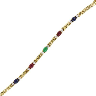 14k Yellow Gold 0.30ctw Diamond and Multi Gemstone Cabochon Station Bracelet