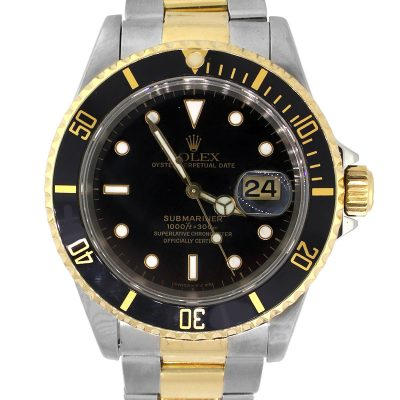 Rolex 16613 Submariner Two Tone Black Dial Watch