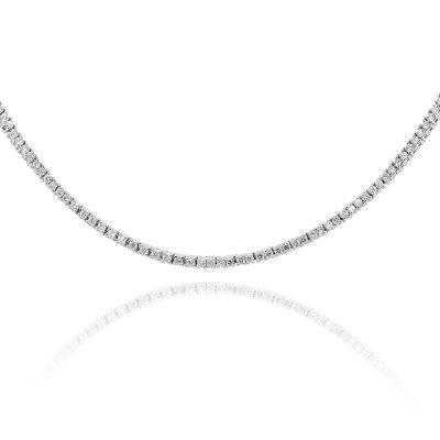 18k White Gold 5.26ctw Round Diamond Straight Line Necklace