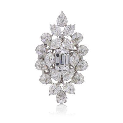 18k White Gold 5.43ctw Multi Shape Diamond Flower Cluster Ring